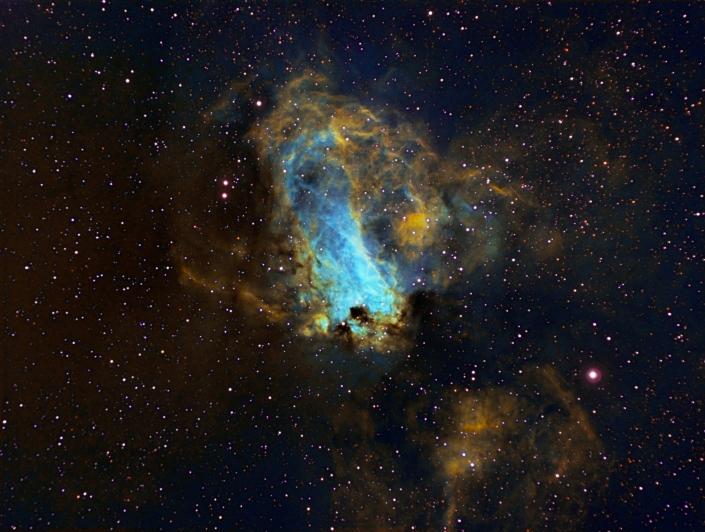 M17 Omega Nebula – distance 6,000 light years (Hubble palette)